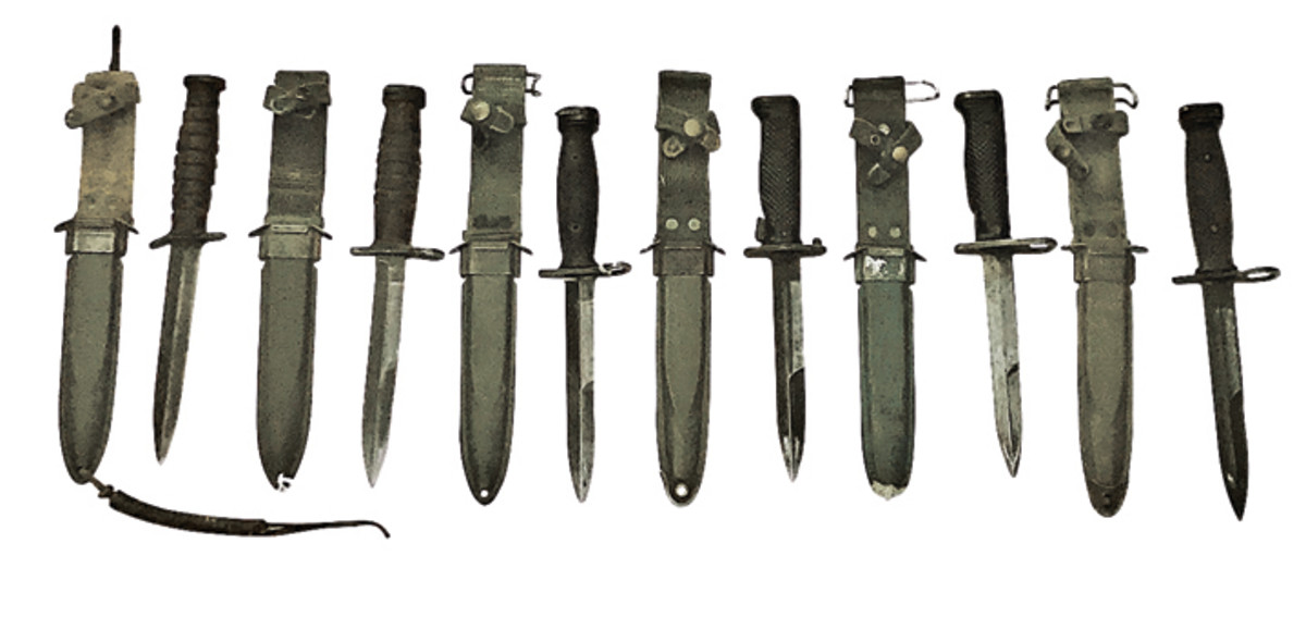 The versatility of the M8/M8A1 scabbard is evidenced by the wide range of knives and bayonets it carried: the M3 knife and M4, M5A1, M6, and M7 bayonets.