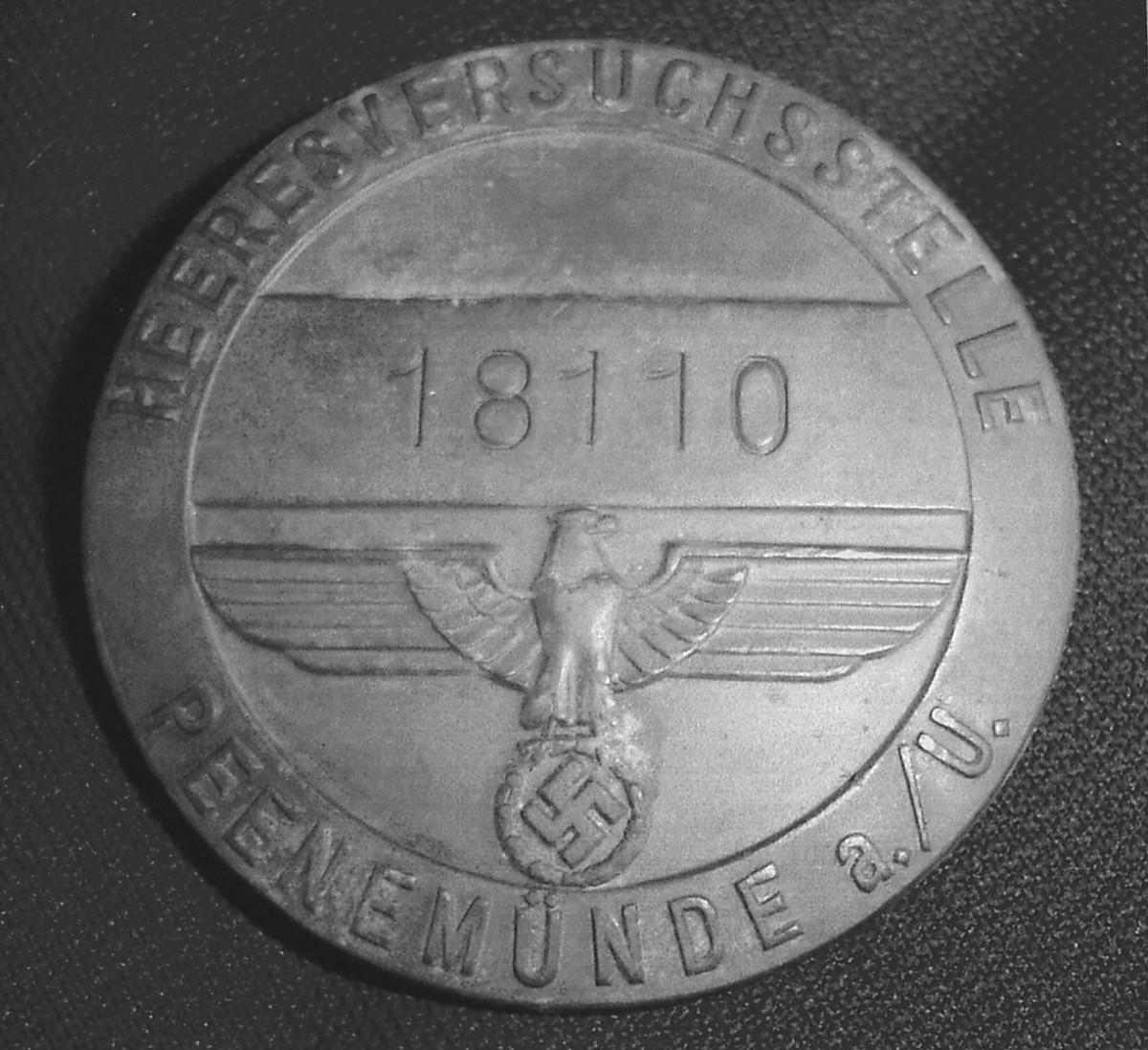 The enamel finish is worn off this rare Peenemünde Entrance Badge.