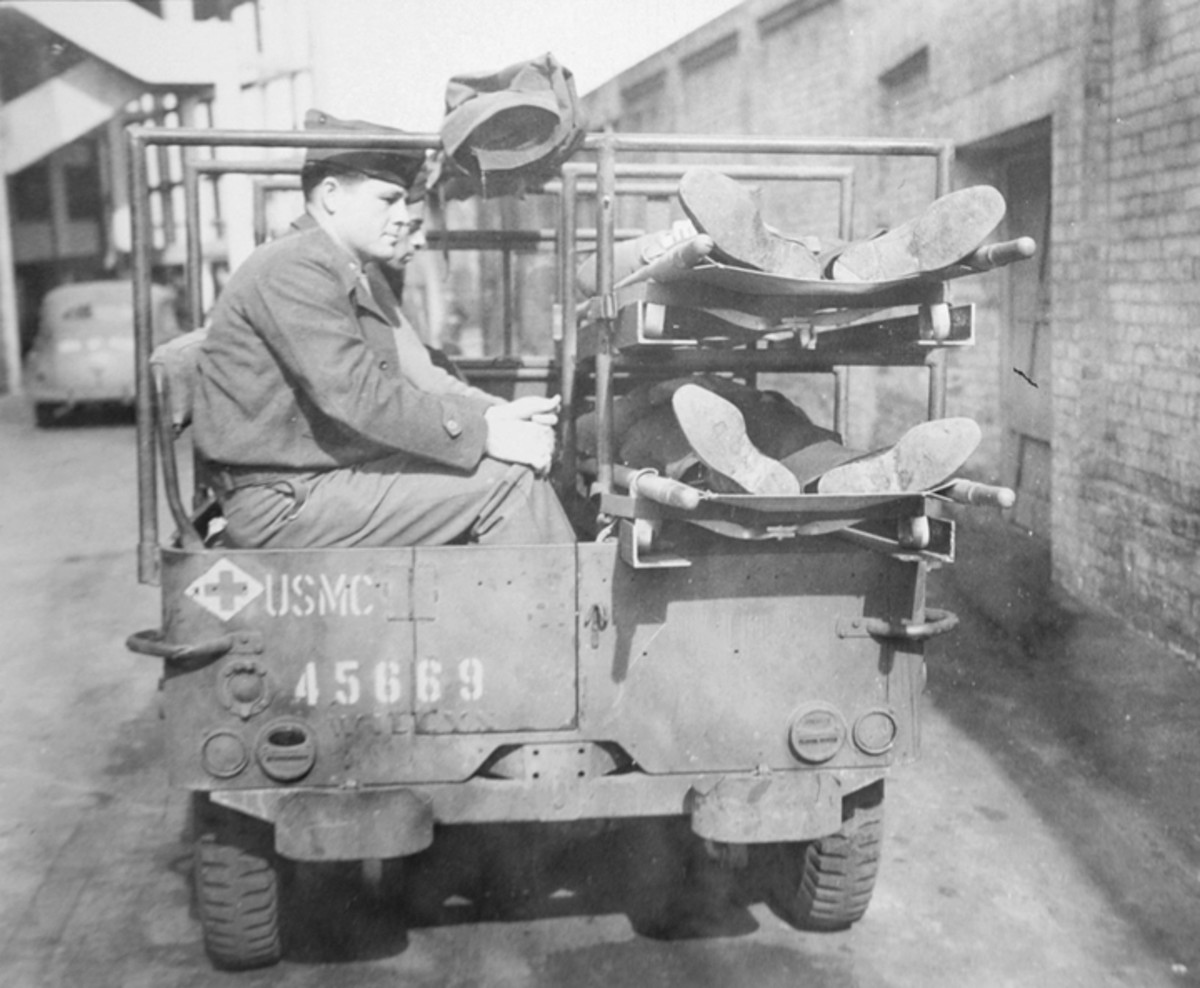The door was cut in the rear of the Jeep—in this instance right through the embossed Willys name. No towing pintle is fitted in this photo—but every rear view of vehicles on the battlefield seen by the author shows a pintle in place.