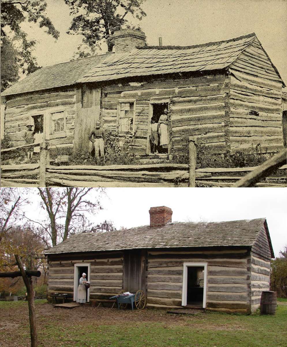 In the 1840s, the Thomas Lincoln Farm in Coles County, Illinois, was the home to Thomas and Sarah Lincoln and the families of Squire Hall and John Davis Johnston. Today, the Illinois Historic Preservation Agency operates it as a living history museum.