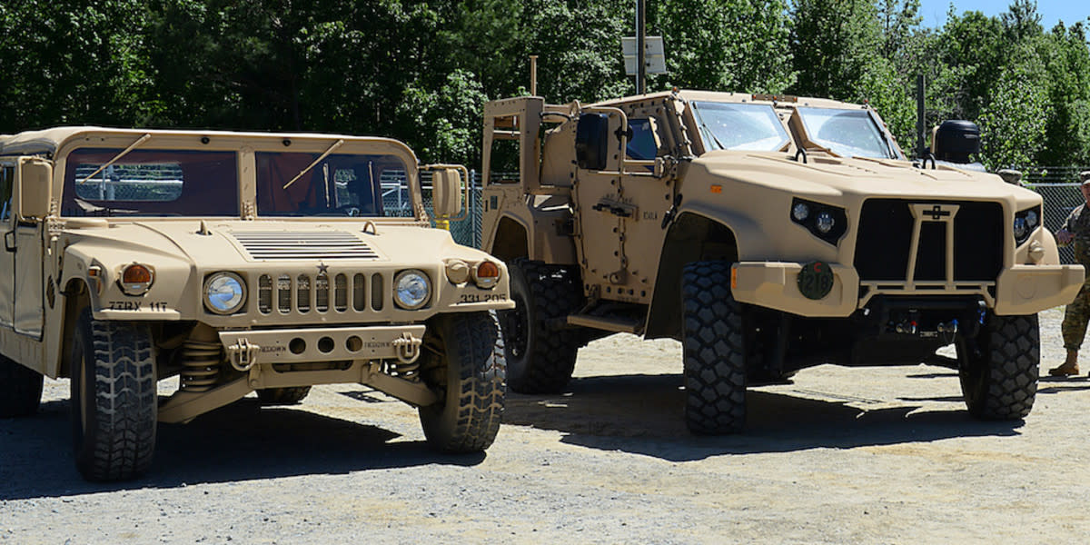 The Air Force Life Cycle Management Center's Agile Combat Support Directorate is working to replace the up-armored High Mobility Multipurpose Wheeled Vehicles, or HMMWV (left), with the Joint Light Tactical Vehicles (right).
