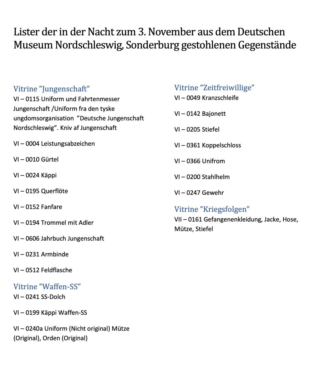 List of items stolen