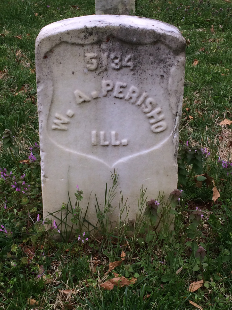 William A. Perisho's tombstone in the Murfreesboro National Cemetery.