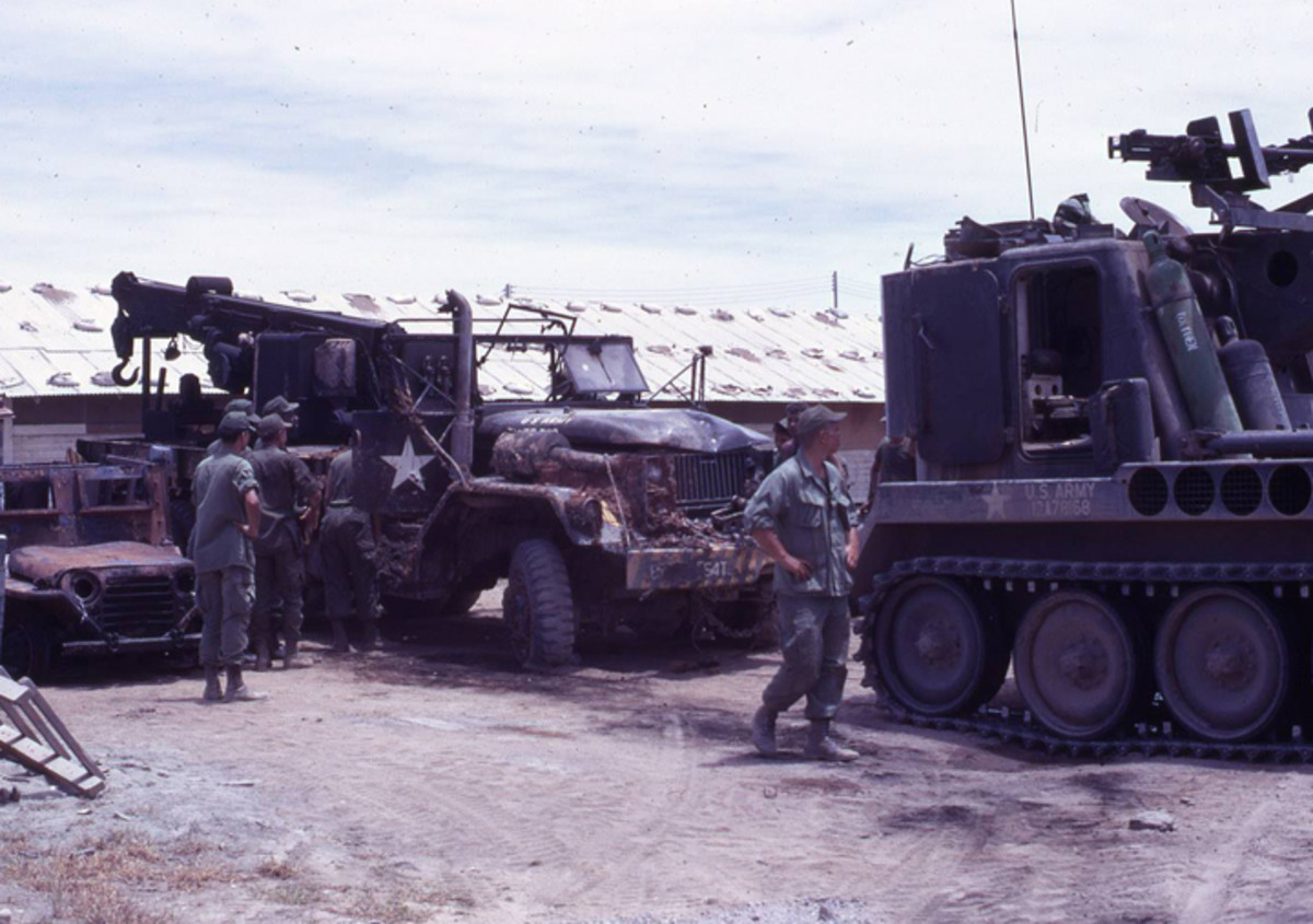This 545th Trans Co wrecker was pulling a stranded gun Jeep when it was hit by an RPG round.