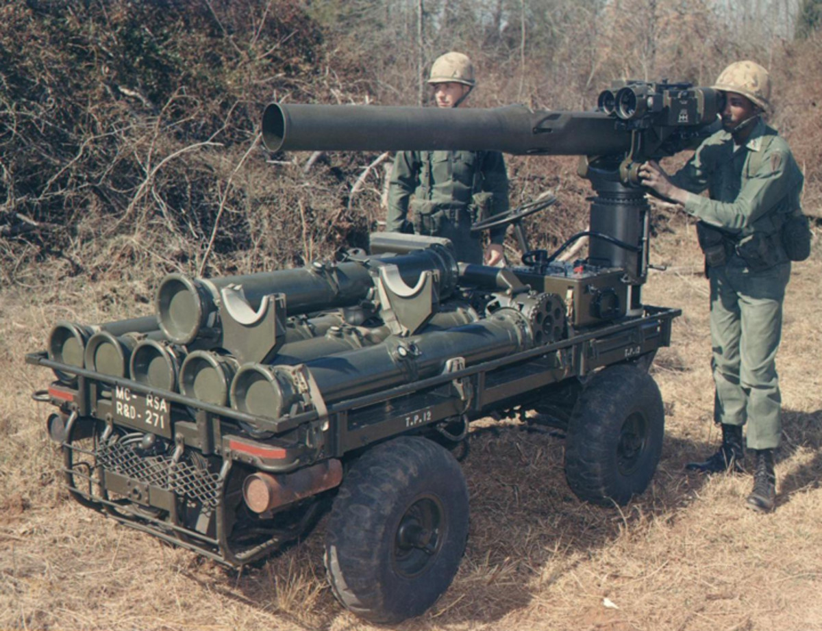 The TOW missile launcher could be mounted on the Mule, yielding the potent self-propelled antitank weapon shown here.