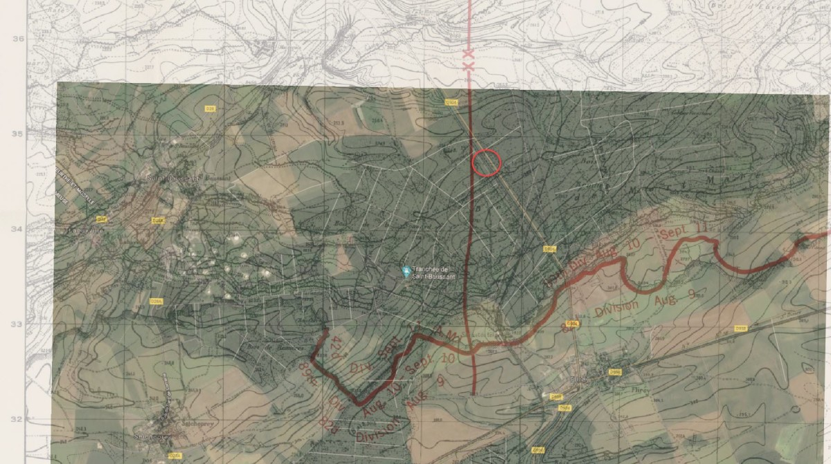 In comparing period combat maps, Binger's initial burial card (which notes map grid reference points), and Google Earth, we can approximate near where his grave was originally located. Right along the road from Flirey to Essey-et-Maizerais (now the D904). An overlay done using a period divisional boundary map for St Mihiel Offensive against Google Earth reveals the approximate 400-meter area (circled) in which Binger was originally buried.