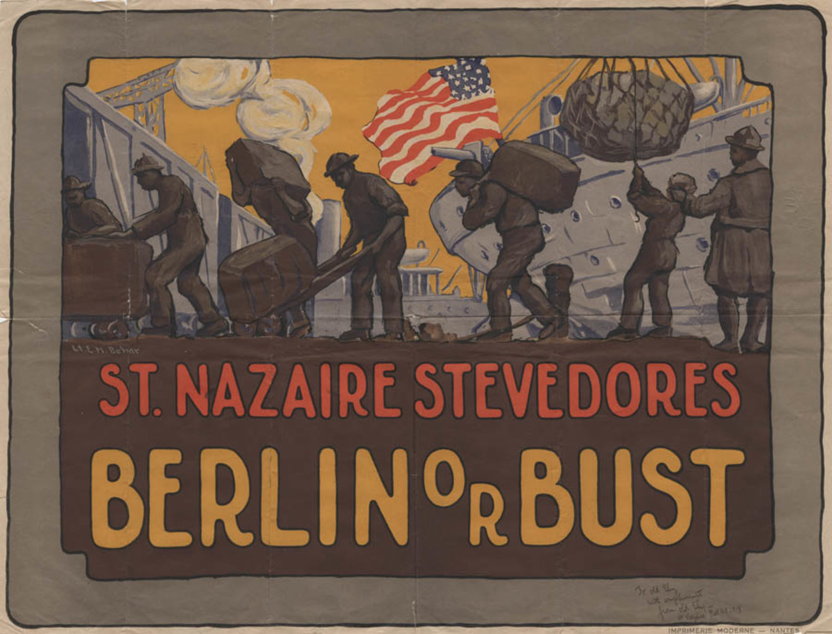 Poster of African American stevedores unloading ships in France.