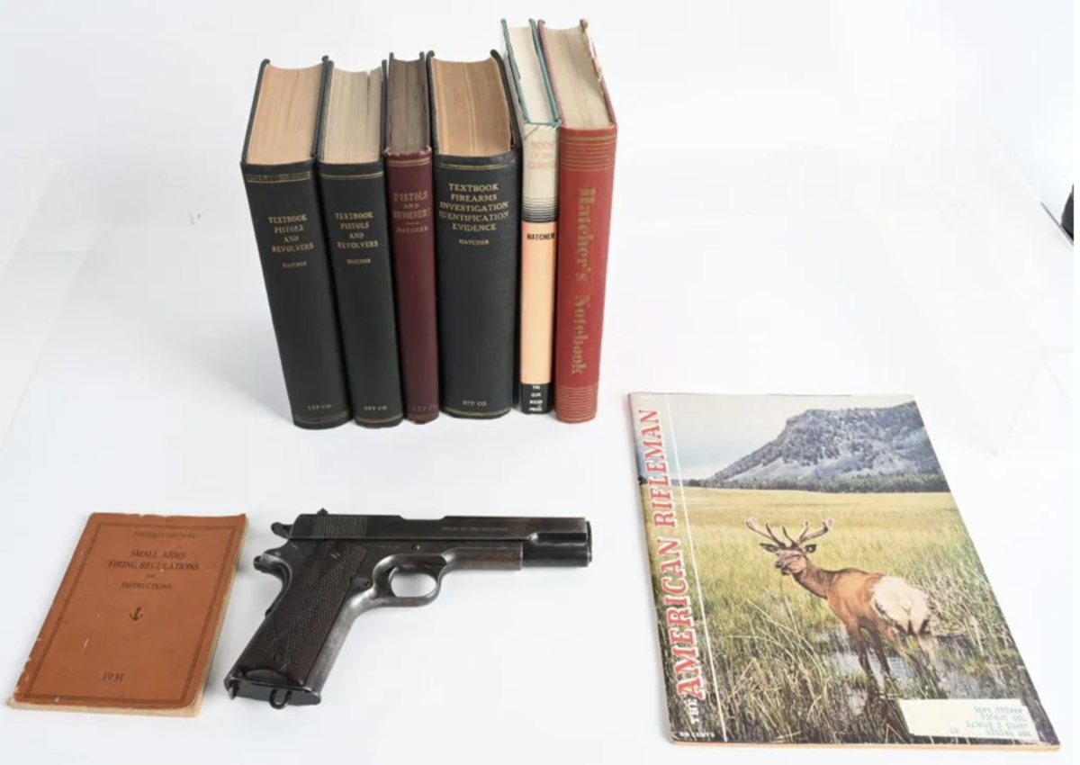 Colt 1911 US Army pistol made in 1913, .45ACP, personal property of Maj. Gen. Julian Sommerville Hatcher, a noted firearms expert, author and technical editor of NRA's 'American Rifleman' magazine. Used in WWI and WWII.