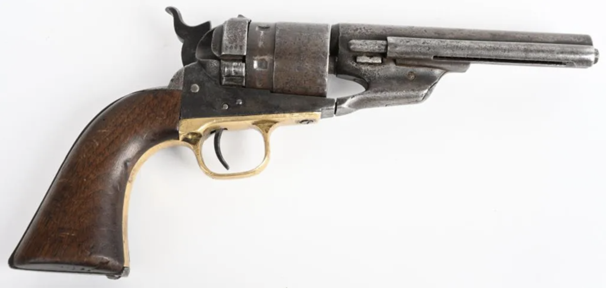 1860 Colt conversion, .44 [Colt] caliber to .44 CF, owned by and engraved with the name of Sheriff James Glispin, leader of the posse that killed Charlie Pitts and captured the Younger gang after the 1876 attempted bank robbery known as the Great Northfield Minnesota Raid. Accompanied by 1951 letter written by Glispin's granddaughter.