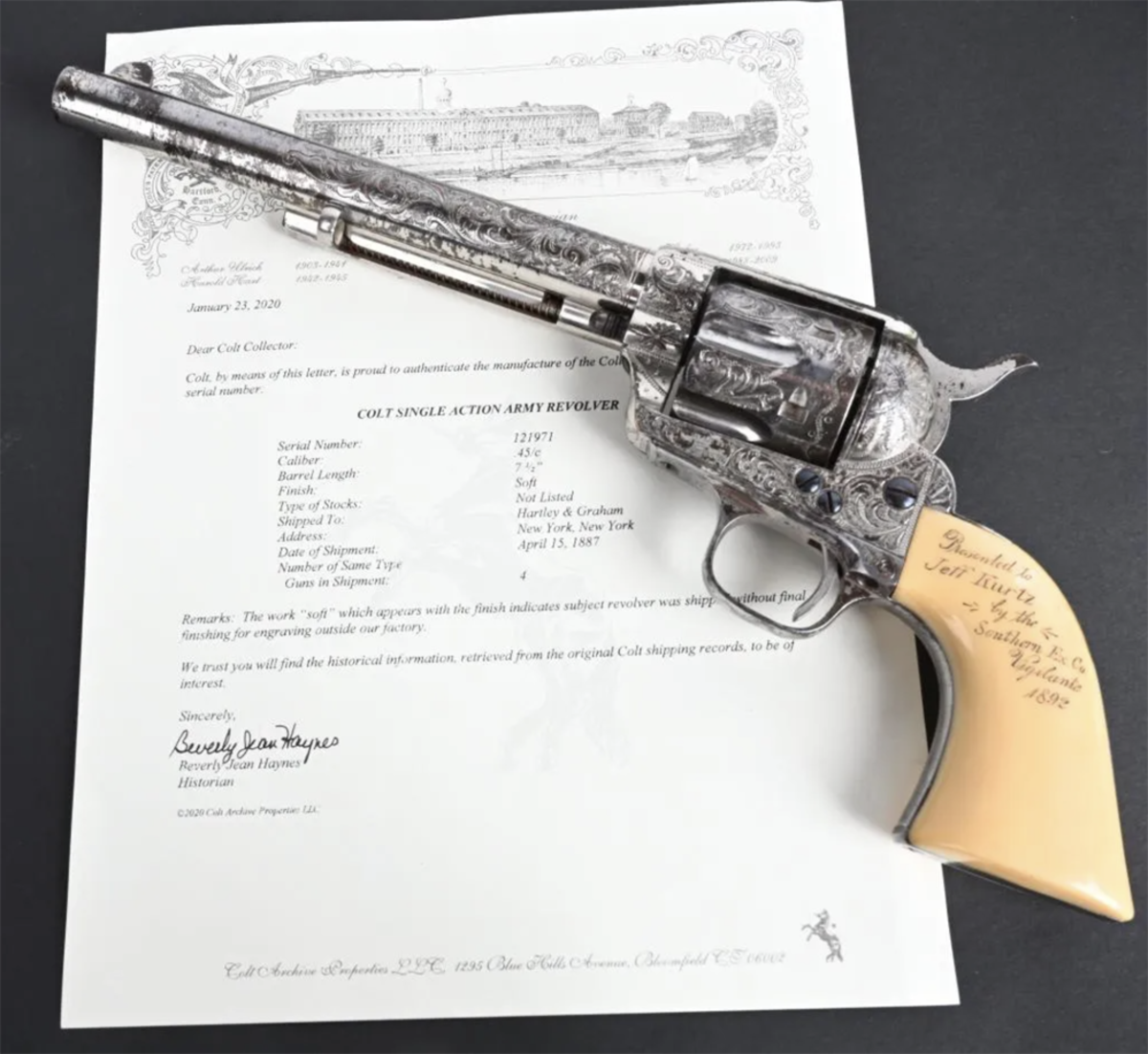 Colt single-action presentation Army Revolver, .45 caliber, one of four guns shipped on April 15, 1887 to Colt distributors Hartley & Graham of New York. Engraved by Cuno Helfricht or his shop to indicate presentation in 1892 to Jefferson D. Kurtz, former Confederate soldier and future sheriff of Volusia County, Florida, killed in line of duty in 1895.