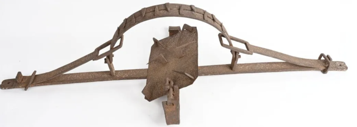 Huge and gruesome 18th-century hand-forged man trap, 55in wide with 17.5in spread of riveted teeth. Nearly identical to an example in a Lincoln, Illinois museum. Provenance: Phil Majerich collection.