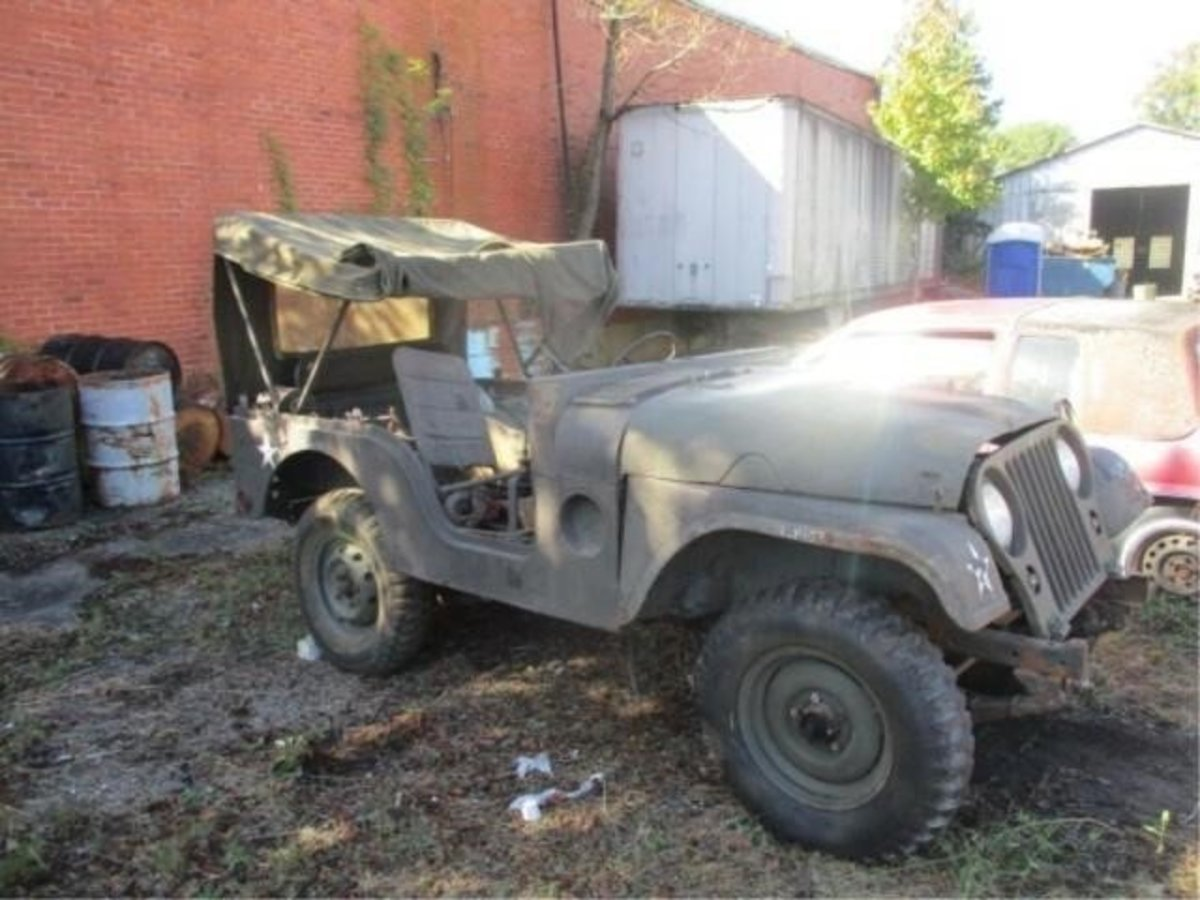 Lot 2. 1953 M38A1 Jeep. Parts jeep only— no radiator. Sold for $1,250