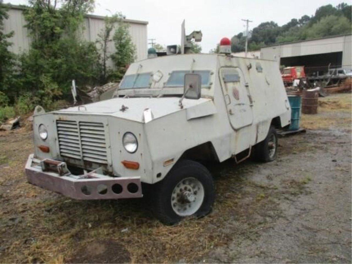 """Lot 7. USAF """"Peacekeeper"""" Cadillac Gage Ranger. Sold for $6,000."""