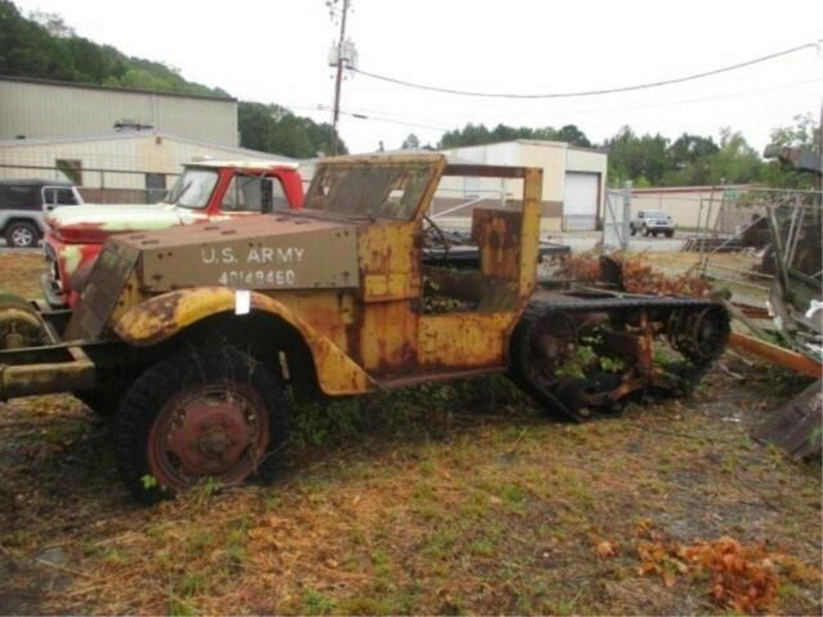 Lot 5. 1945 M3 Half-Track Frame & Tracks. No Motor. Sold for $2,100.