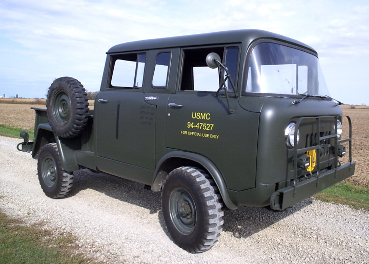 "The M677 (Type II) was a four-door crew cab pickup with the same 103"" wheelbase as the M676. The front axle on the M-series FCs was the Spicer model 44-F (4.89:1) 3500-lb. capacity full floater. The rear was the Spicer model 53 (4.88:1) 4500-lb. capacity semi-floater. Both were available as Powr-Lok (limited slip) axles."