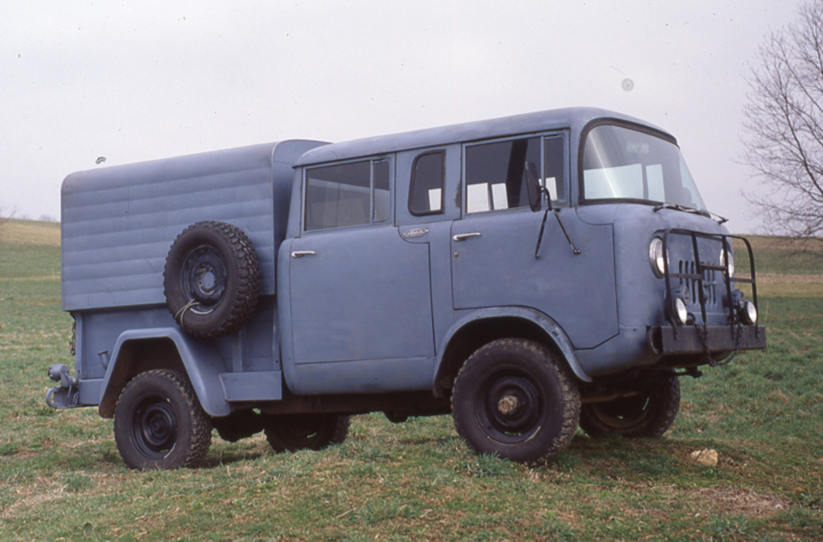 "The M-677 (Type II) was a four door, crew cab pickup with the same 103"" wheelbase as the civilian FC170. Fred Williams' truck is complete with the blackout lighting mounted in the wide slot of the grille."
