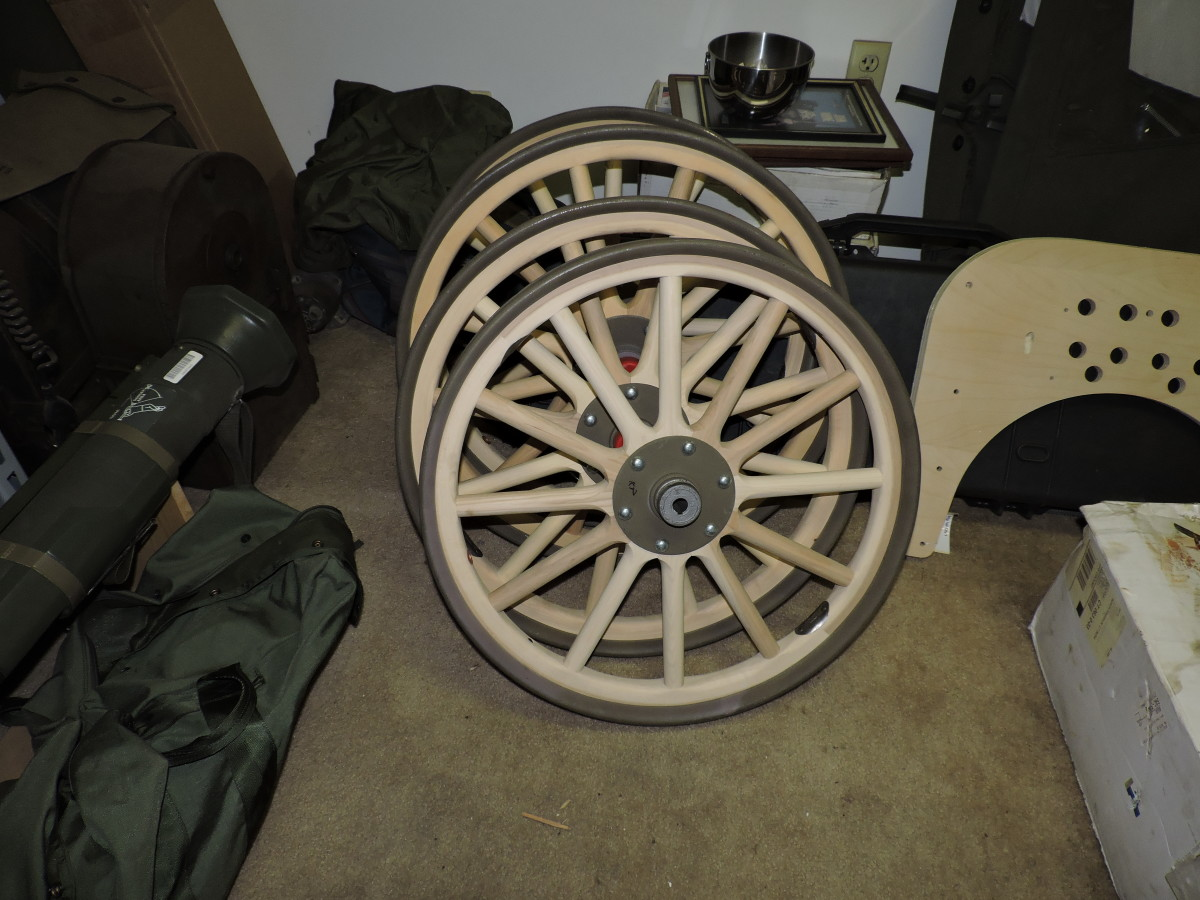The remnants of the original wheels were used for patterns to make reproductions. Skilled buggy makers in an Amish community produced these beauties.