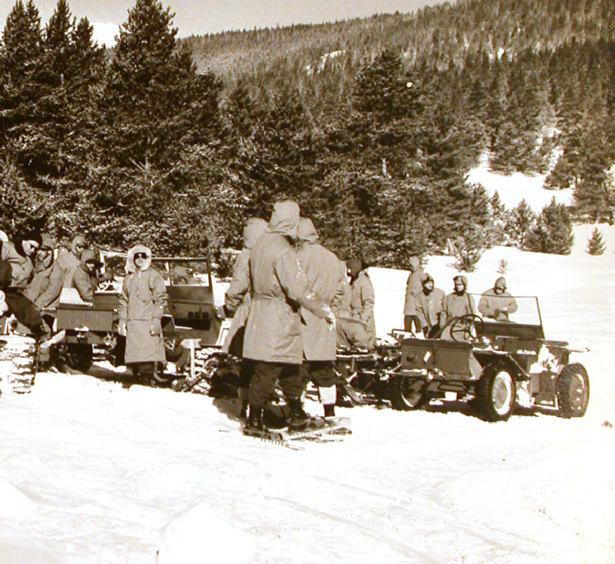Members of the 10th Mountain testing a Crosley Pup at Camp Hale, Colorado, ca. 1943-44