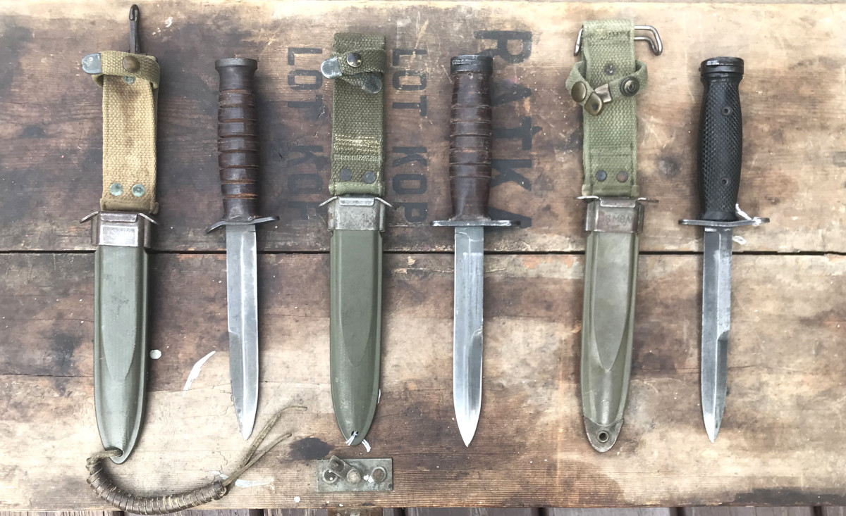 The M4 bayonet (center and right) is a direct descendent of the M3 trench knife (left). Today, collectors look for production variations of this iconic 20th century weapon.