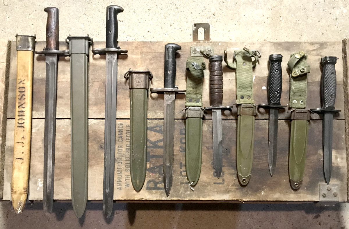 US bayonet length changed before and after the adoption of the M4. From left to right are a Model 1905, 1942 manufactured M1905, M1, M4, M4, and M7.