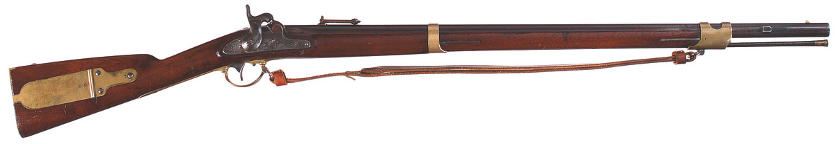 """In addition to the first """"Snell"""" alterations, 449 rifles of Harpers Ferry's production and 1,200 rifles stored at the Washington Arsenal (all Harpers Ferry-produced) were adapted to accept a second style of saber bayonet that did not incorporate a ring on the handle like the Snell pattern."""