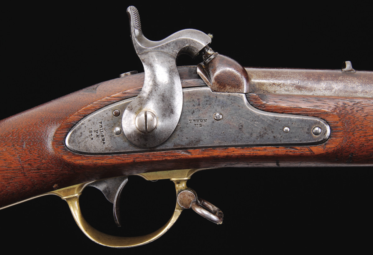 """The lock plates of Tryon contract rifles are marked in two lines forward of the hammer, """"TRYON / US"""" and in behind the hammer, """"PHILADA / PA / (date)""""."""
