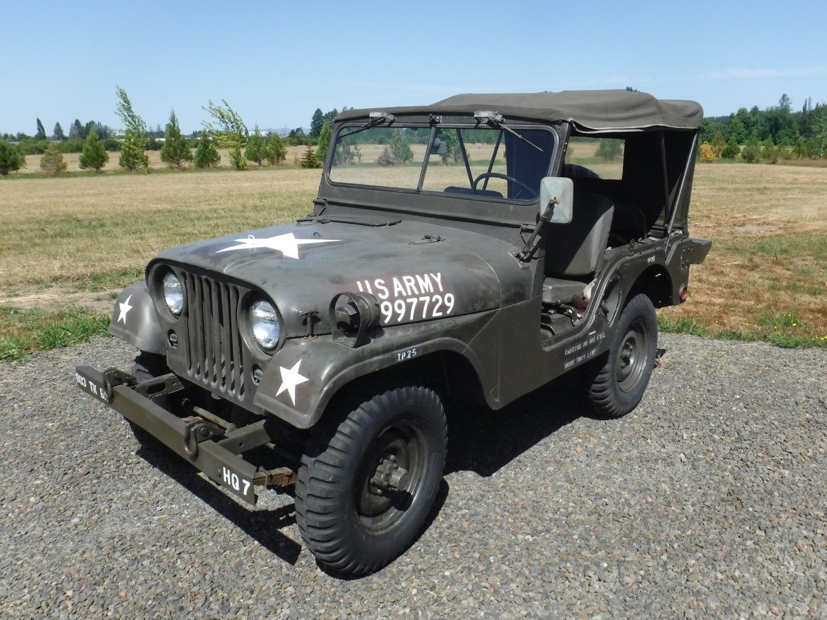 """Peter Lahmann wrote, """"This is my original 1953 M38A1. I bought it from a rural fire Department in about 1986. It had 4800 miles then and now has about 14,000. It has upgrades from military service time, such as the Vietnam era vinyl hood numbers and vinyl seats. It has had maintenance items done such as tire, belts and hoses. The stars were masked off and repainted, but the other markings were carefully cleaned."""""""