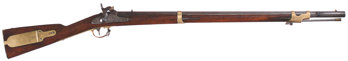 In 1861, New York took delivery of 5,000 Remington U.S. Model 1841 rifles from Watervliet Arsenal. On May 30 of that year, the state contracted E. Remington & Sons to equip each rifle to accept a Collins, Hartford brass hilted saber bayonet without shortening the stock or front barrel band.