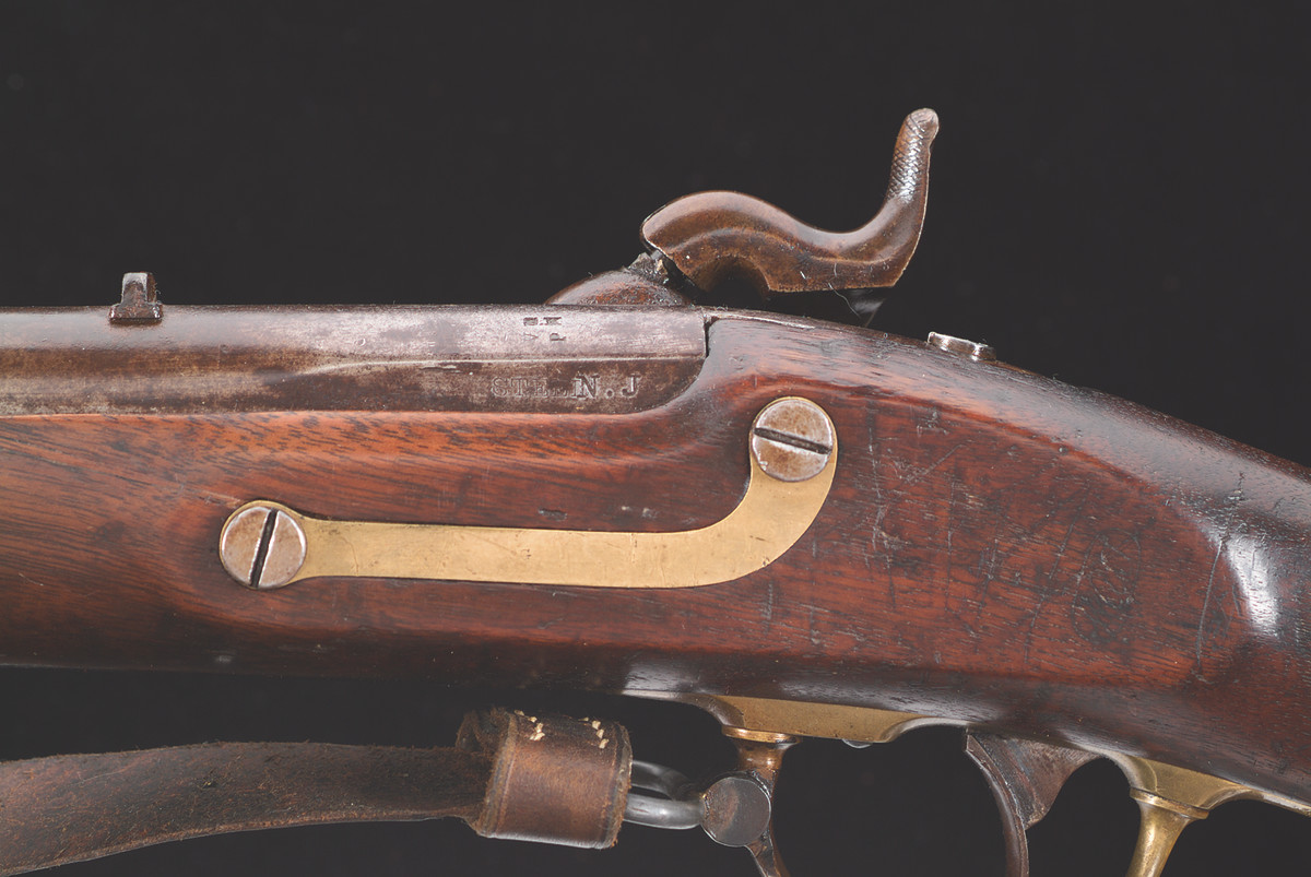 """Barrel is stamped """"N.J."""" on the left flat side of the breech."""