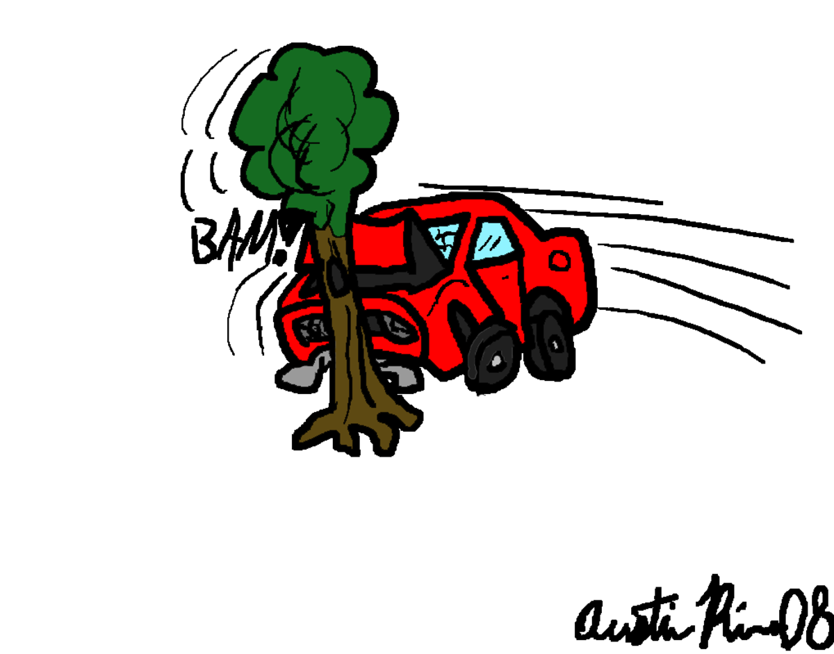 Cartoon graphic of a vehicle hitting a tree.