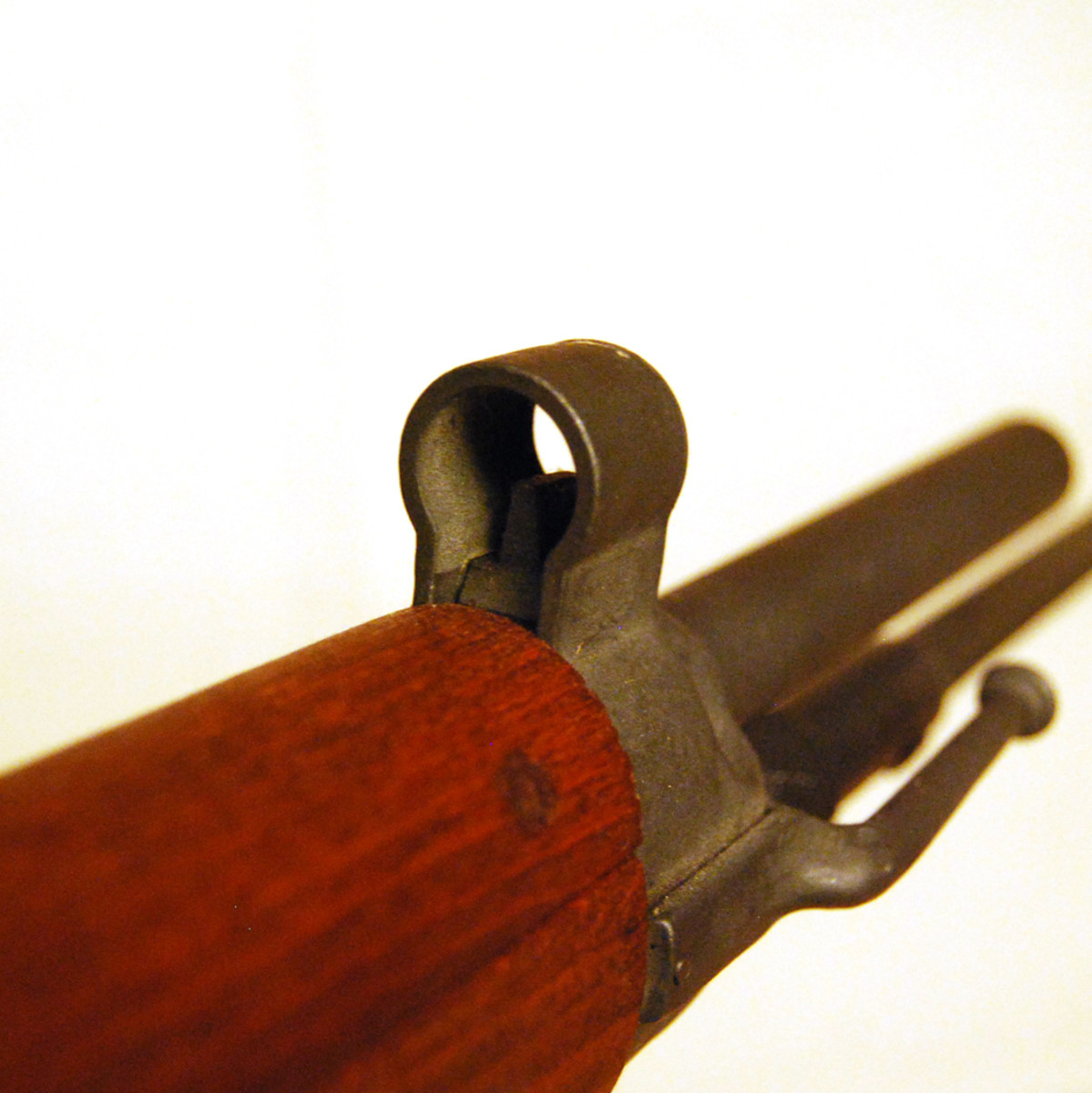 Like the Lebel Model 1886 rifle, the MAS-36 featured a stacking hook offset to the right side of the barrel for stacking upright with other rifles (usually three). The milled post front sight was protected by a hood.