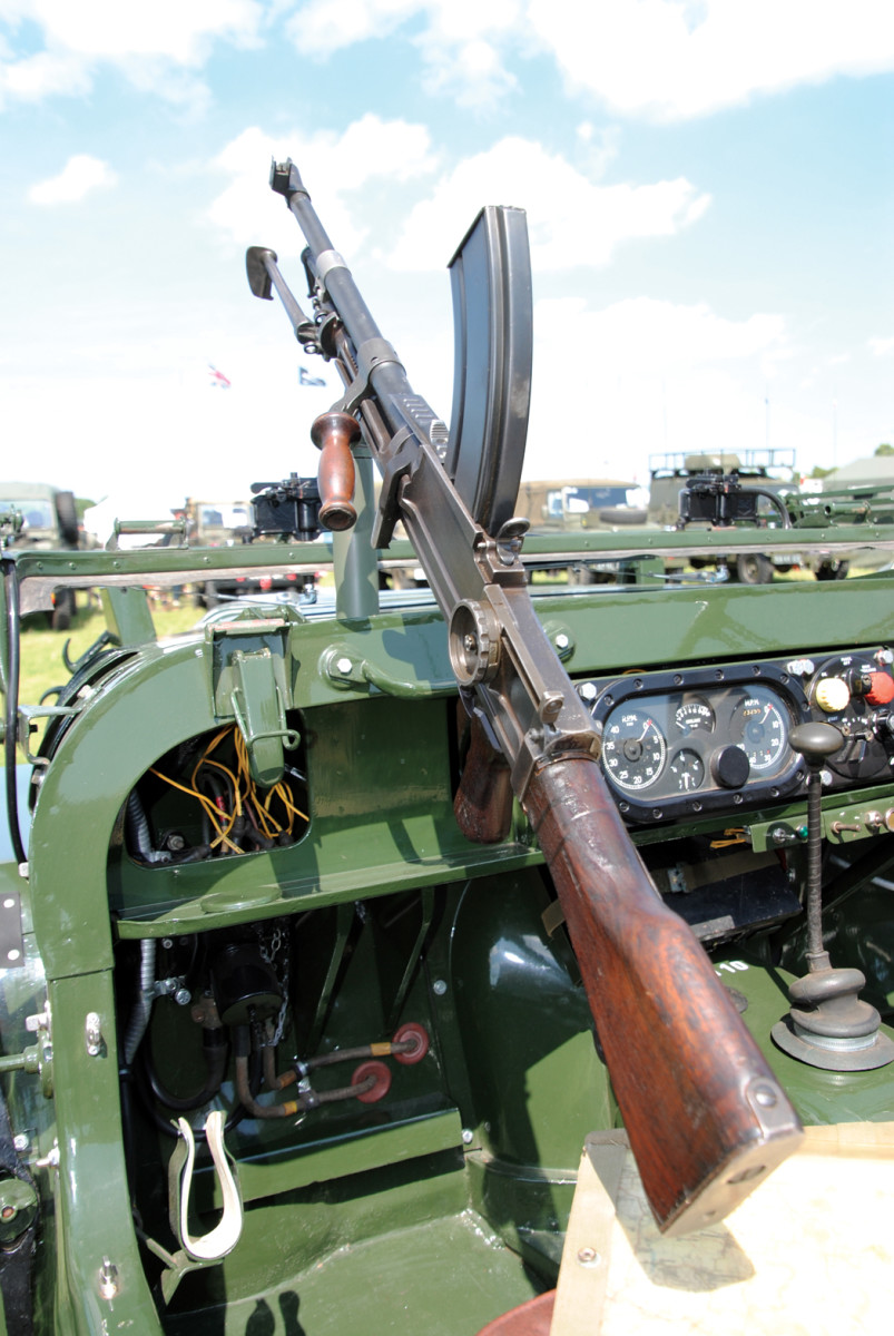 Some Champs were fitted with a machine gun for self-defense as seen here. The a .303-caliber Bren Gun is mounted in the passenger's position on a pintle.