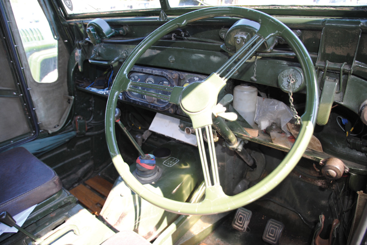 The steering wheel and driver's position showing the basic layout of the controls.