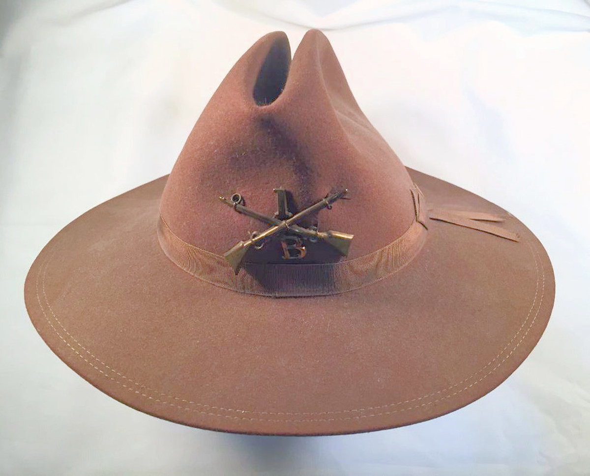 This 1889 pattern campaign hat was worn in the Spanish American War in 1898-1899 and the early part of the Philippine Insurrection by Private George W Gregory, Company B, of the First North Dakota Volunteers.
