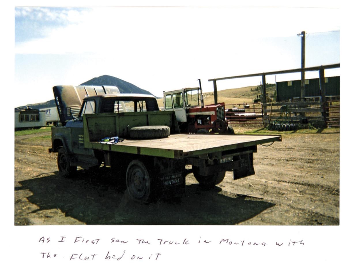 This is the Dodge W300 when I first found her — a vehicle resplendent in original Air Force strata blue with administration markings still on the doors. The bed was a replacement.