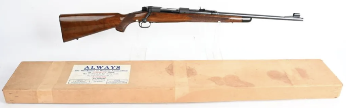 Boxed Winchester Model 70 super grade .35 Remington carbine, 1949, special one-off custom order not even found in [Roger] Rule's book, possibly the rarest of all pre-1964 Model 70s. Sold above estimate for $20,100.
