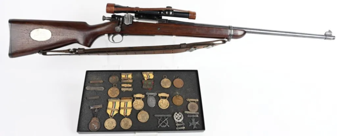 1903 US Springfield Presidents Match Trophy rifle, 30-06 caliber, awarded to USMC Gunnery Sgt. John Thomas, the first Marine to win this highly coveted award. Of five examples made, this is one of only three whose whereabouts are known. Accompanied by 16 shooting medals and ribbons, plus ephemera. Sold within estimate for $21,000