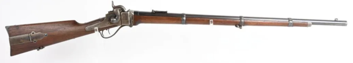 Outstanding Berdan Sharps Model 1859 rifle, bore .52, one of the finest-condition rifles known of the approximately 2,000 shipped to Berdan in 1862. Extraordinary condition, all original in original Civil War-era rifle case, ID'd to James Baker of Ohio, who enlisted with the legendary Berdan Sharpshooters, 1st Regiment, Company K, at age 20. Sold at midpoint of estimate for $25,800