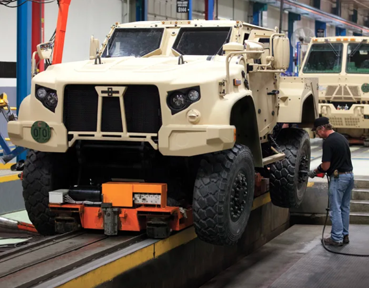JLTV rolls of the Wisconsin-based Oshkosh Trucks' assembly line.