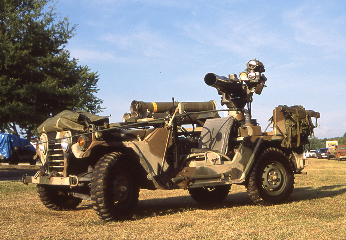 The M825 was also later used as a platform for the M220 TOW Anti-Tank Missile, replacing the M40 Recoilless Rifle and its mount with the TOW mount and weapon.