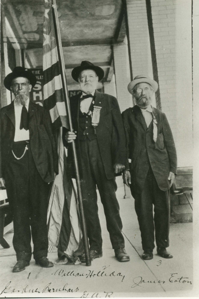 James (right) with 3 of his GAR comrades posed for this photograph in 1915. Eaton had served in the 7th Missouri Volunteer Infantry; 7th Regiment, Veteran Reserve Corps; and the 1st U.S. Veteran Volunteers during the Civil War.