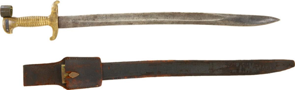 Boyle Gamble & McFee saber bayonet with the original scabbard,frog, and marked bayonet adaptor