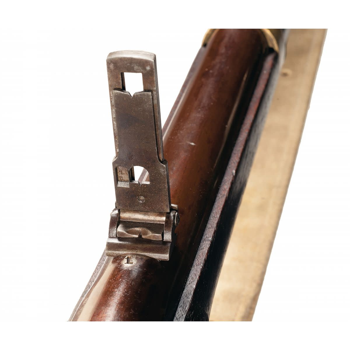 The Benton Screw Sight was one of the first long range adjustable rear sights that Harper's Ferry used. It was found to be too fragile and that the dovetail milling allowed the sight to be jarred sideways or even lost. This led to a second style of long range sight.