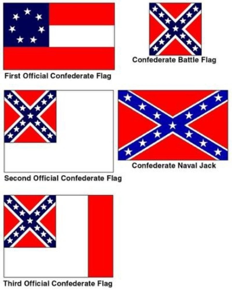 Display of 5 different styles of Confederate banners.