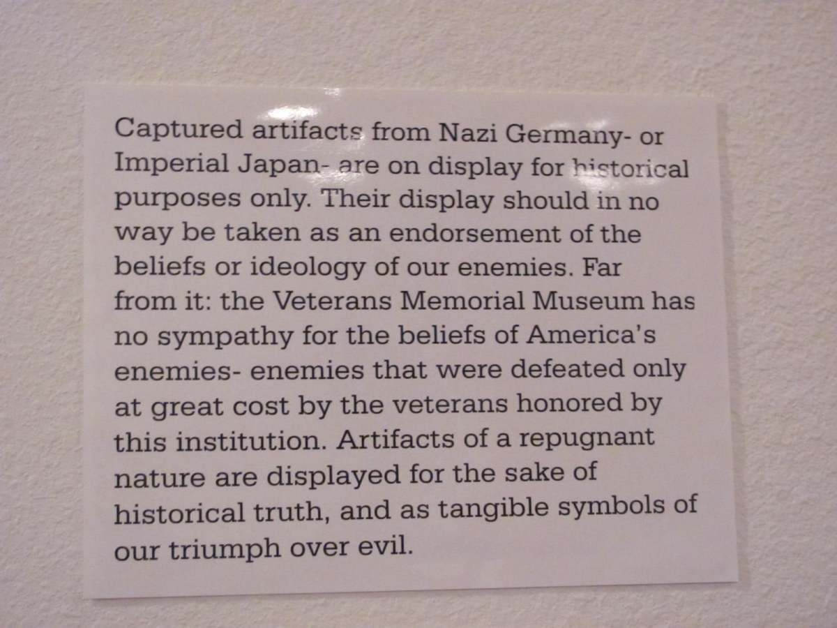 Sign photographed at the Veterans Memorial Museum in Branson, Missouri, 2021.