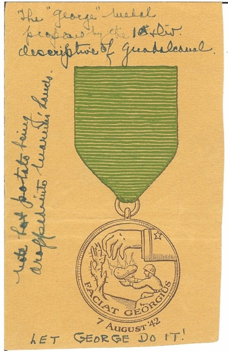 One of the design drawings for the Faciat Georgus Commemorative Medal with notes by MGEN William H. Rupertus.