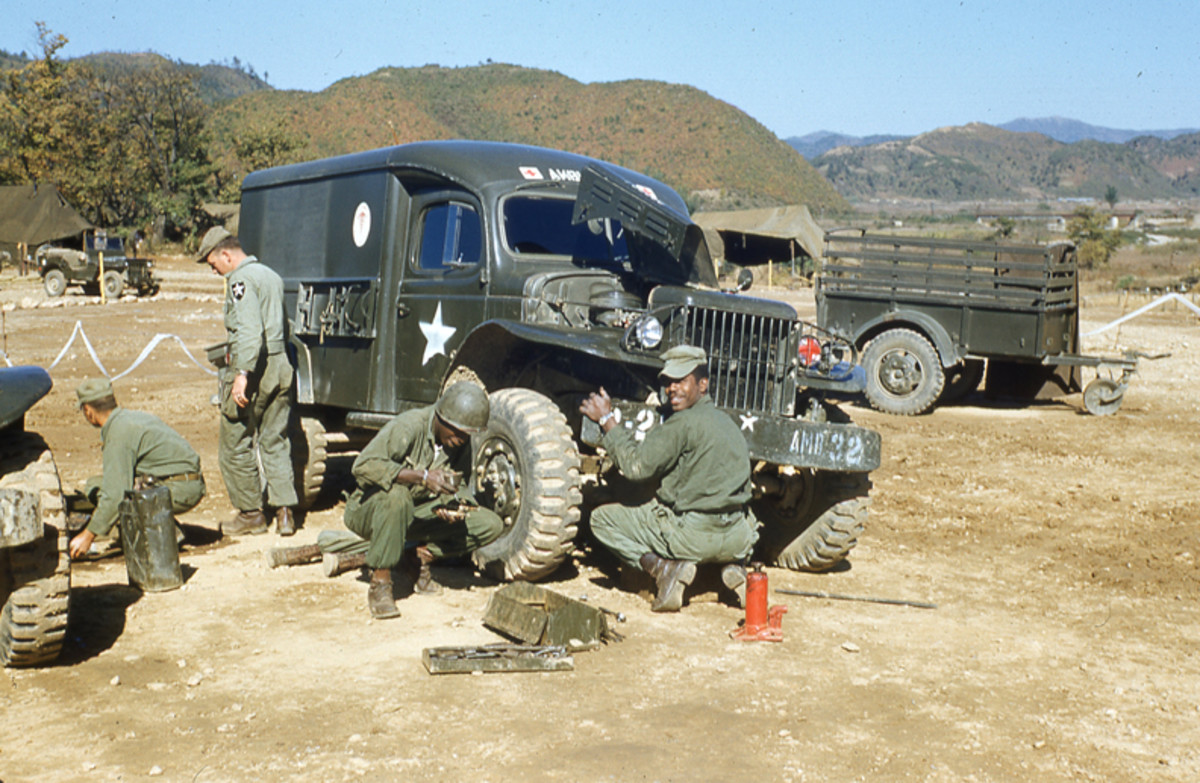 WC-54 Ambulance of the 2nd Med Bn undergoing repairs in Korea, October 1952
