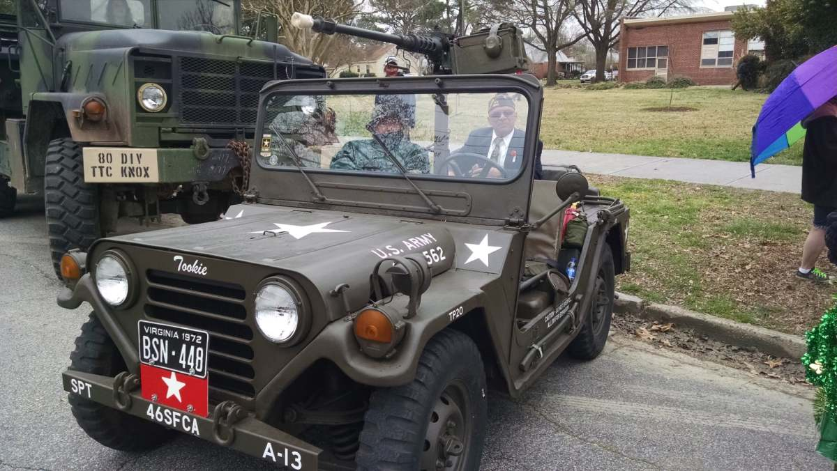 Pete Thompson's 1972 Ford M152A mounting a 1966 Browning M2 .50 cal machine gun.