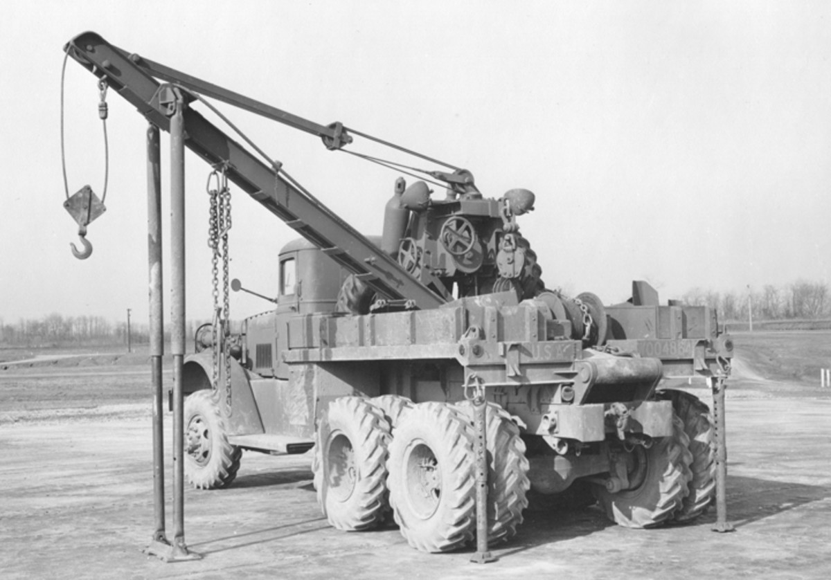 The Series Two wreckers incorporated a much-needed drag winch on the rear of the truck as can be seen in this April 1942 photo. National Archives and Records Administration