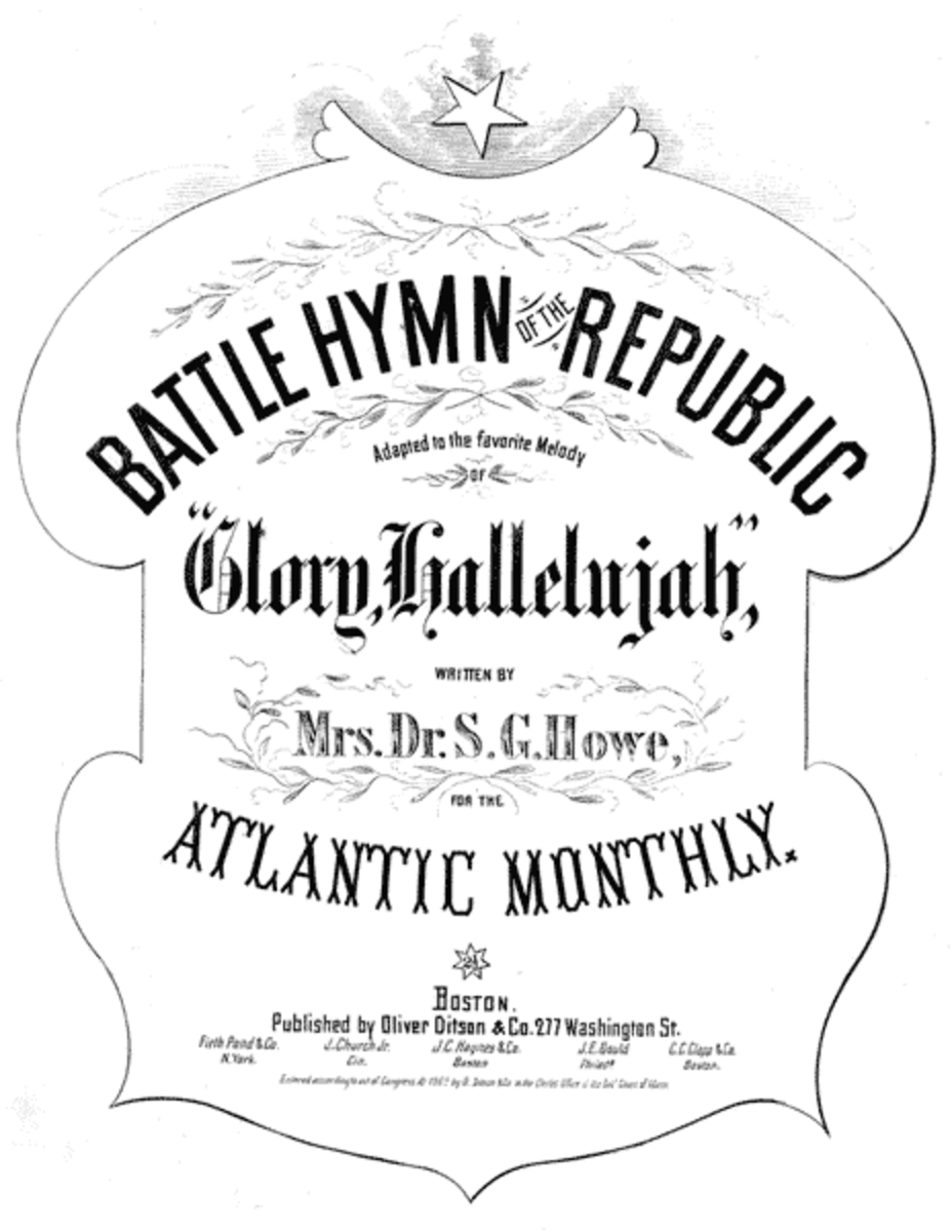 """Cover of sheet music for """"The Battle Hymn of the Republic"""" words by Mrs. Dr. S.G. [Julia Ward] Howe, Boston: Oliver Ditson & Co., 1862"""